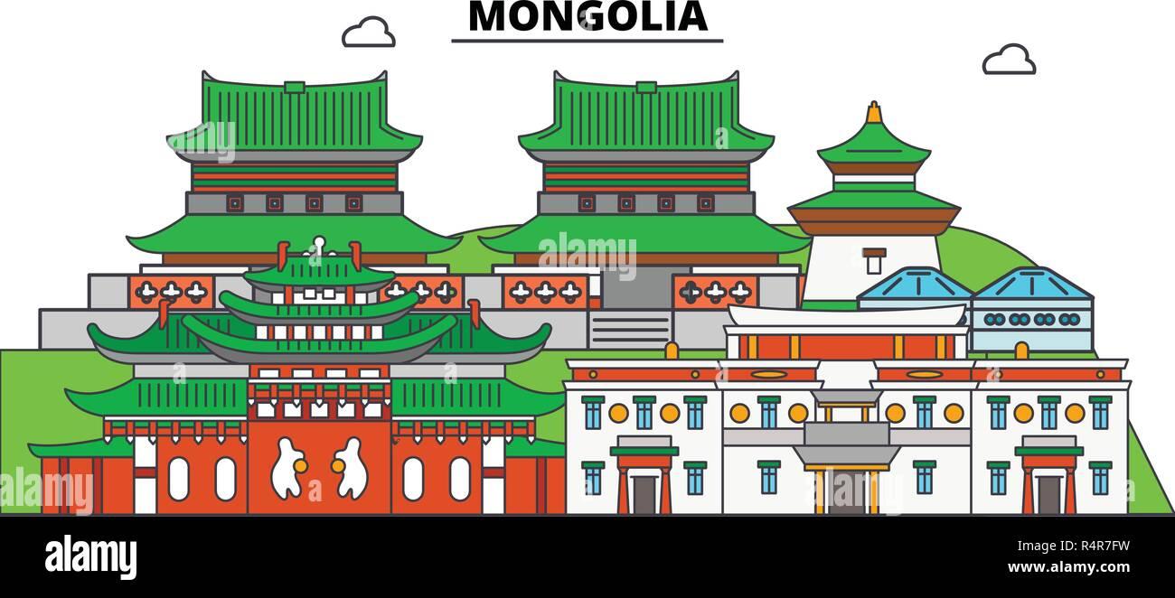 Mongolia line skyline vector illustration. Mongolia linear cityscape with famous landmarks, city sights, vector, design landscape. - Stock Vector