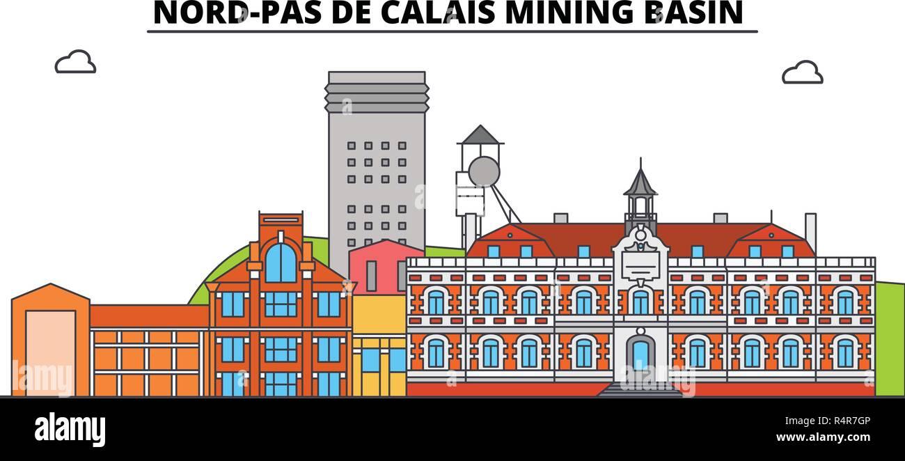 Nord-Pas De Calais Mining Basin  line travel landmark, skyline, vector design. Nord-Pas De Calais Mining Basin  linear illustration.  - Stock Vector