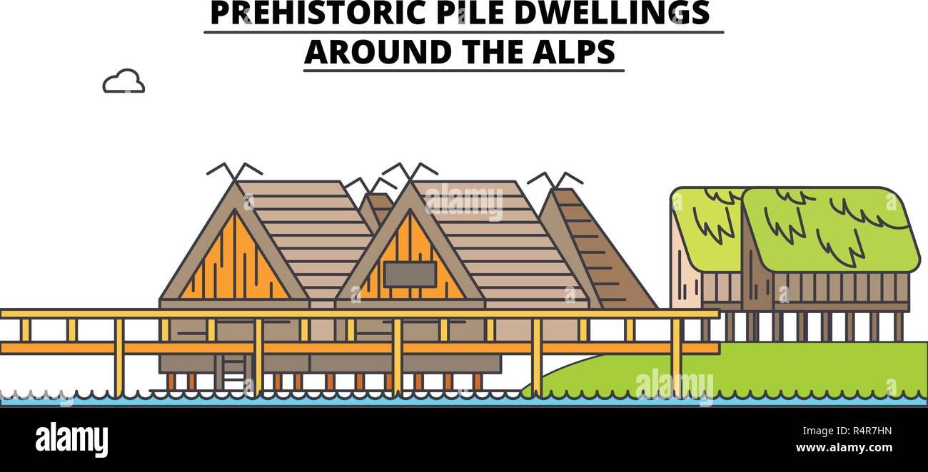 Prehistoric Pile Dwellings - Around The Alps  line travel landmark, skyline, vector design. Prehistoric Pile Dwellings - Around The Alps  linear illustration.  - Stock Vector