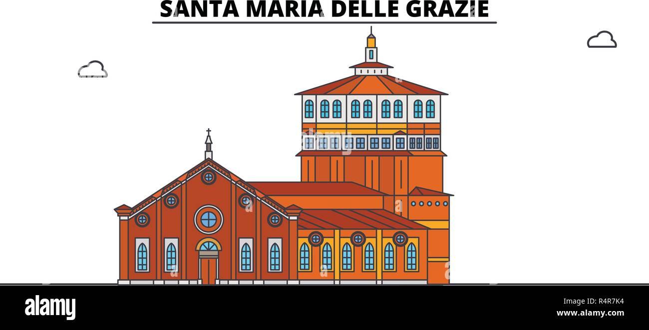 Santa Maria Delle Grazie line travel landmark, skyline, vector design. Santa Maria Delle Grazie linear illustration.  - Stock Vector