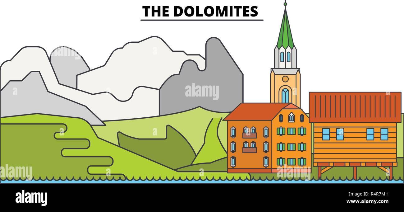 The Dolomites  line travel landmark, skyline, vector design. The Dolomites  linear illustration.  - Stock Vector