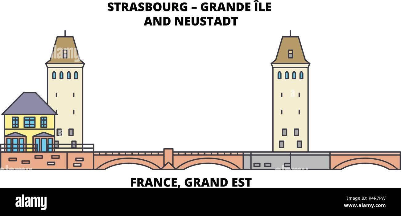 France, Grand Est -Strasbourg – Grande Ile And Neustadt line travel landmark, skyline vector design. France, Grand Est -Strasbourg – Grande Ile And Neustadt linear illustration. - Stock Vector