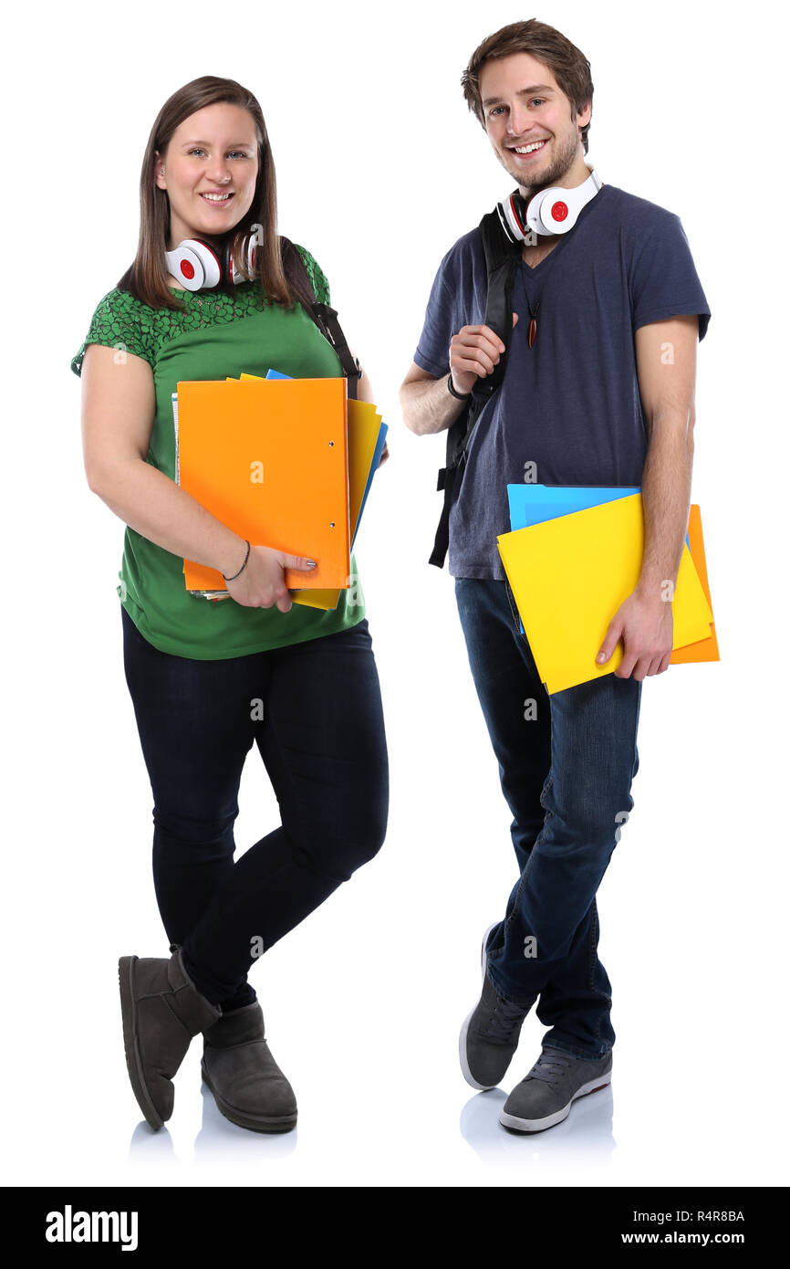 student couple young young full-length woman man portrait of teenagers - Stock Image