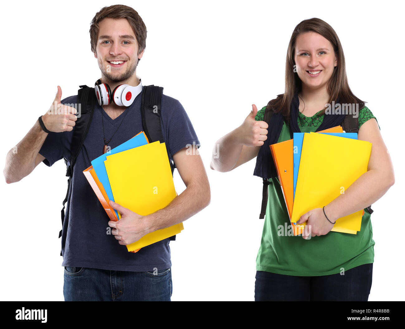 student thumbs up young young woman man young laughing youthful casual - Stock Image