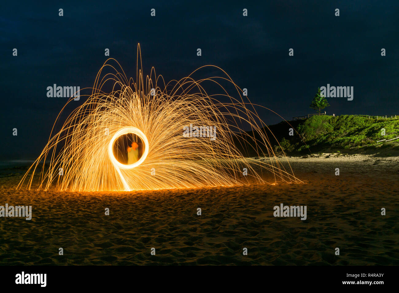 Steel wool spinning to make an attractive pattern Stock Photo
