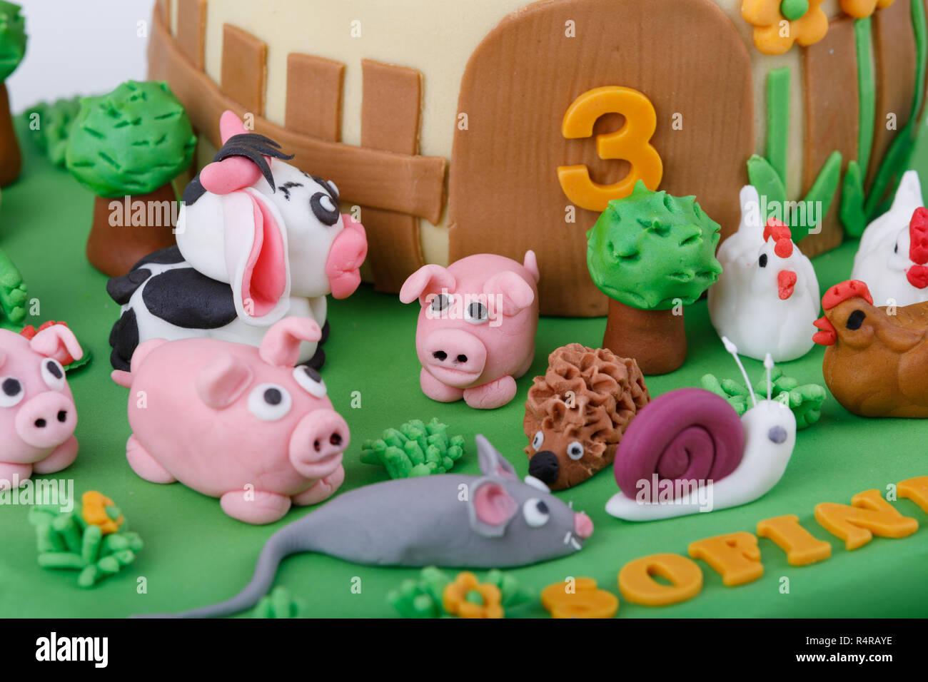 Wondrous Birthday Cake With Farm Marzipan Animals Stock Photo 226706914 Funny Birthday Cards Online Unhofree Goldxyz