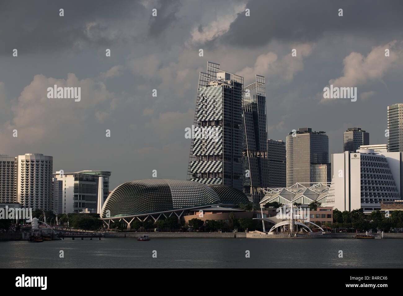 A gloomy and cloudy weather scene of cityscape in SIngapore. - Stock Image