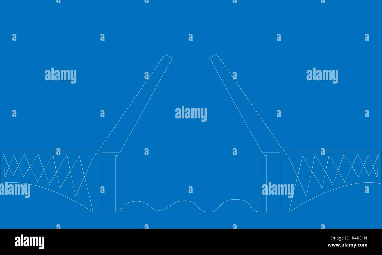 Drawbridge. One line. Blue background. Vector illustration. - Stock Vector