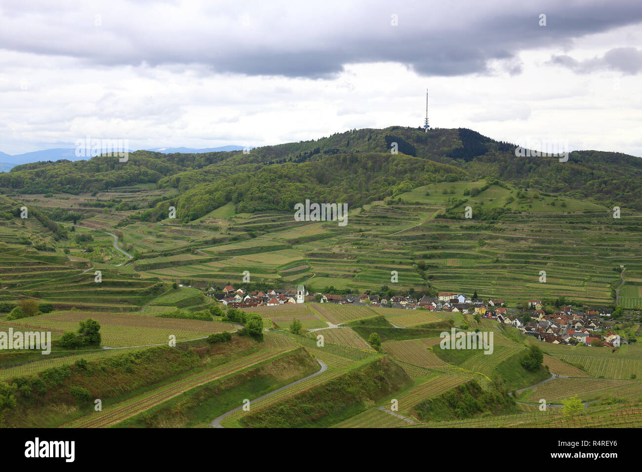 oberbergen in the kaiserstuhl with the skull in the background Stock Photo
