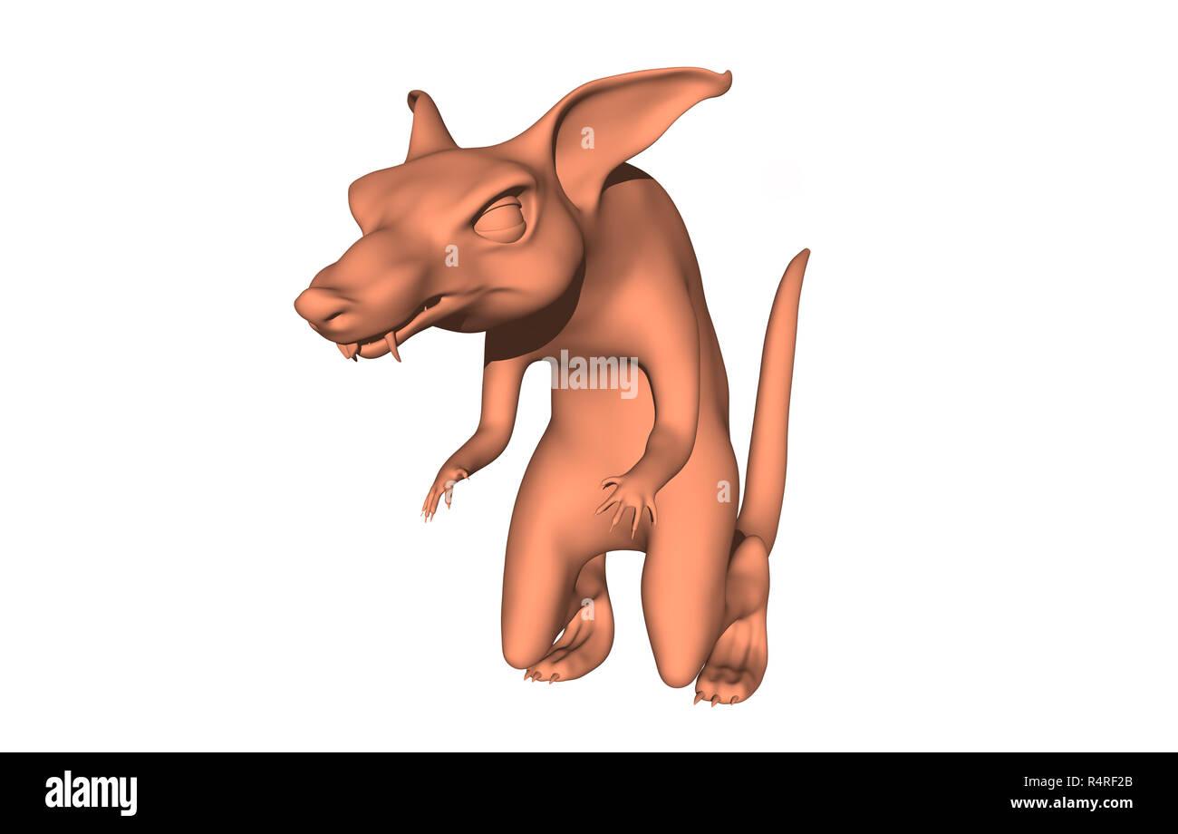 cartoon rat isolated - Stock Image