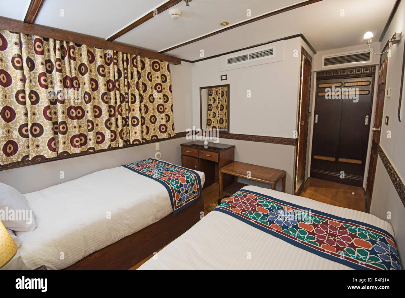 Twin Beds In Cabin Of A Luxury Private Motor Yacht Stock Photo Alamy