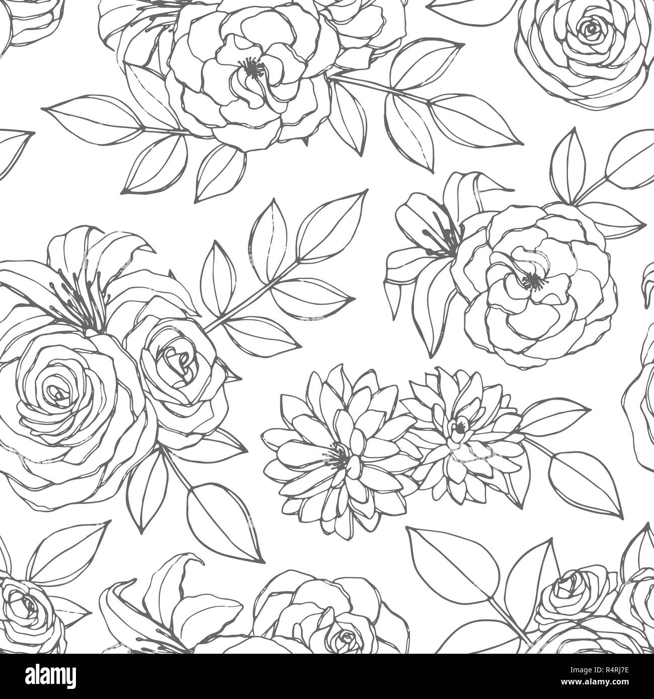 Vector Seamless Pattern With Rose Lily Peony And Chrysanthemum Flowers Line Art On The White Background Hand Drawn Floral Repeat Ornament Of Blosso Stock Vector Image Art Alamy