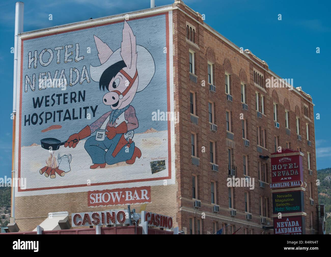 Hotel Nevada Mural - Stock Image