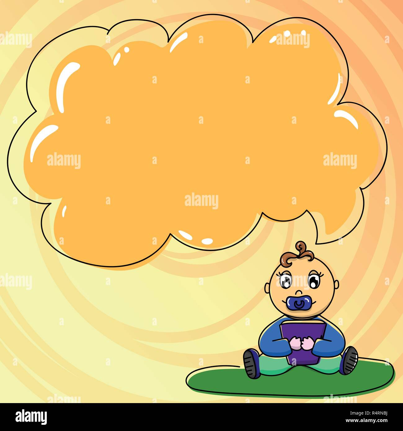 Design business concept Empty copy space modern abstract background. Baby Sitting on Rug with Pacifier Book and Blank Color Cloud Speech Bubble - Stock Vector
