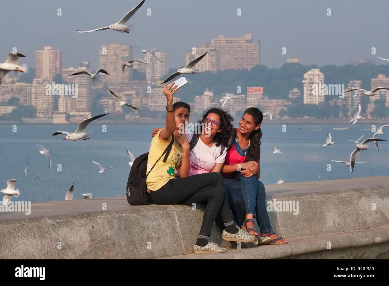 Visitors at Marine Drive, a boulevard by the Arabian Sea in Mumbai, India, taking selfies with migratory seagulls flown in for the winter months - Stock Image