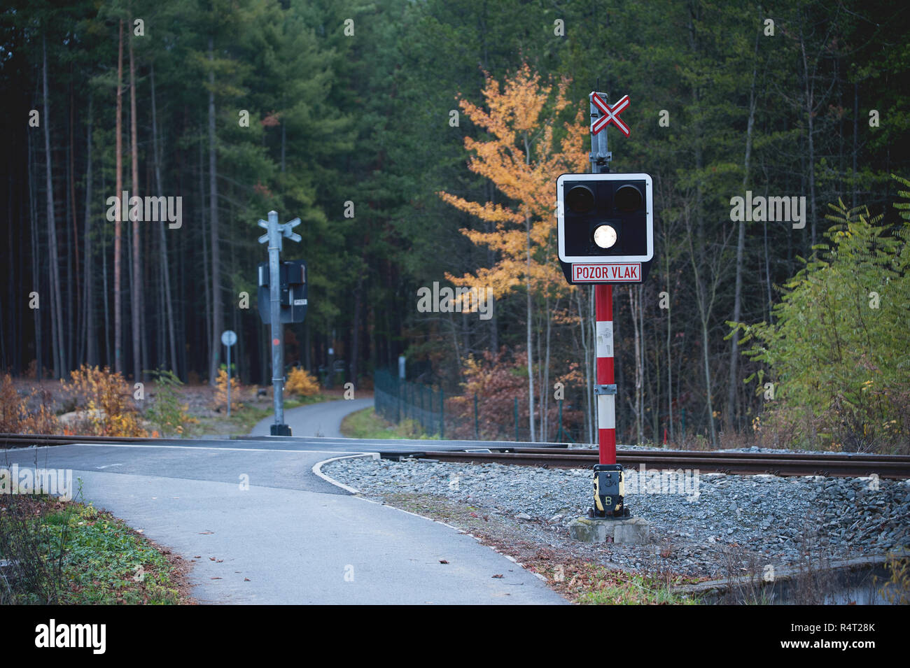 Unprotected Rail Crossing in Forest. Czech Sign: Pozor vlak, in English: Attention train. - Stock Image