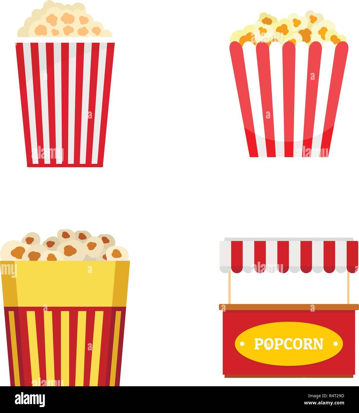 Popcorn cinema box striped icons set. Flat illustration of 4 popcorn cinema box striped vector icons isolated on white - Stock Image