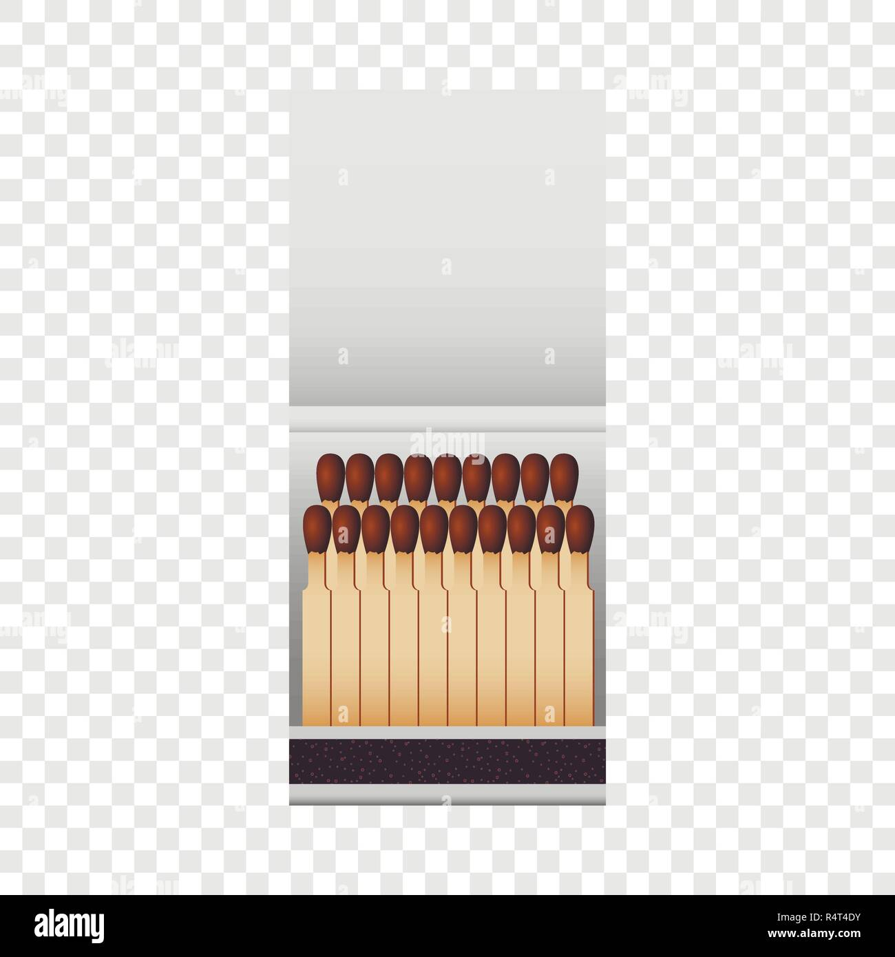 Small matchbox mockup. Realistic illustration of small matchbox vector mockup for on transparent background - Stock Image