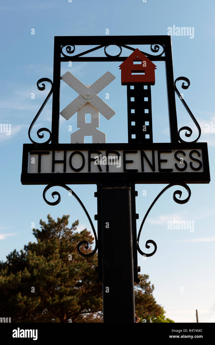 Thorpeness village sign Suffolk UK - Stock Image