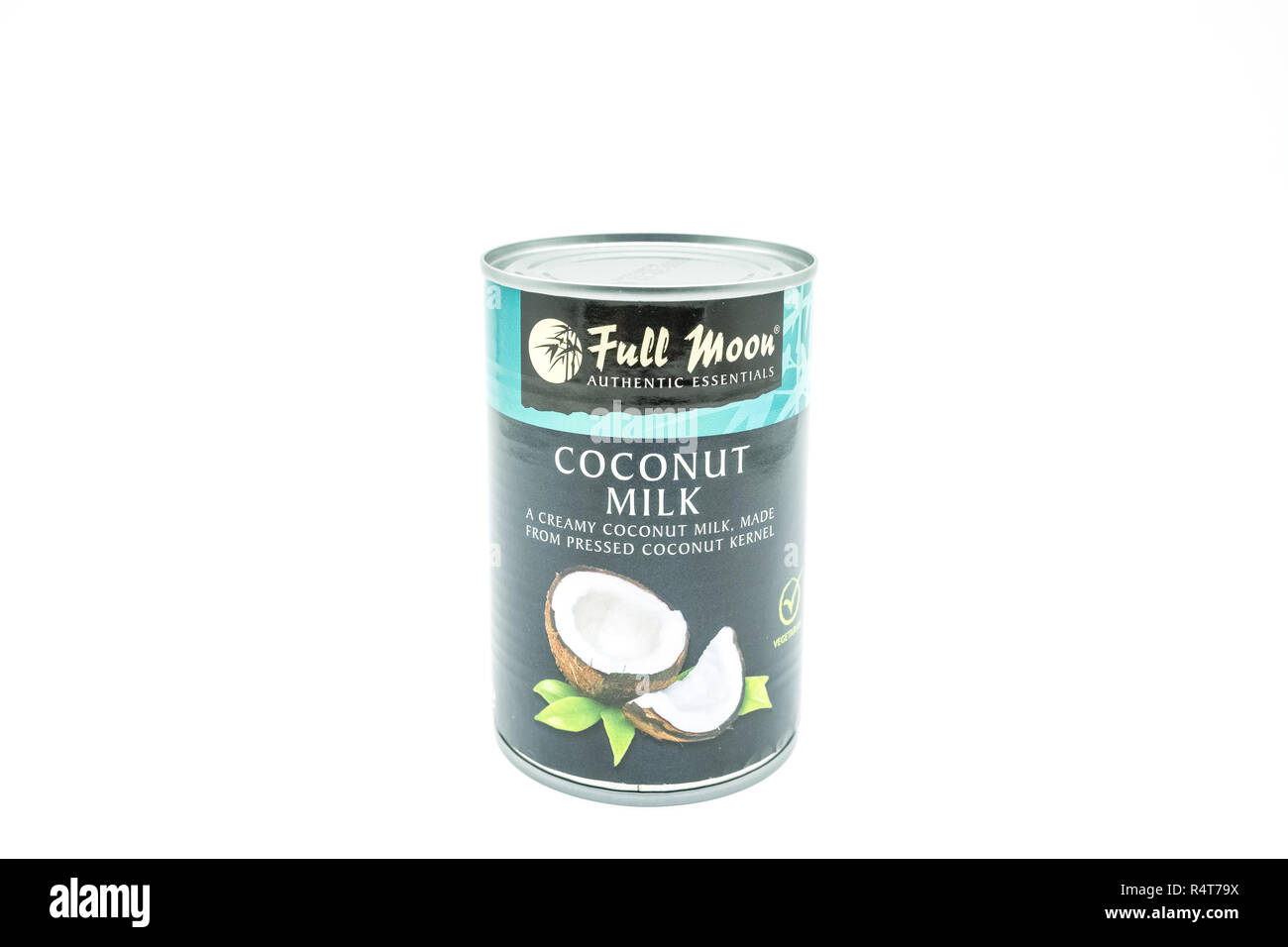 Largs, Scotland, UK - November 22, 2018: A Tin of Full Moon Branded Coconut Milk in Recyclable Tinned Container in line with current UK environmental  - Stock Image