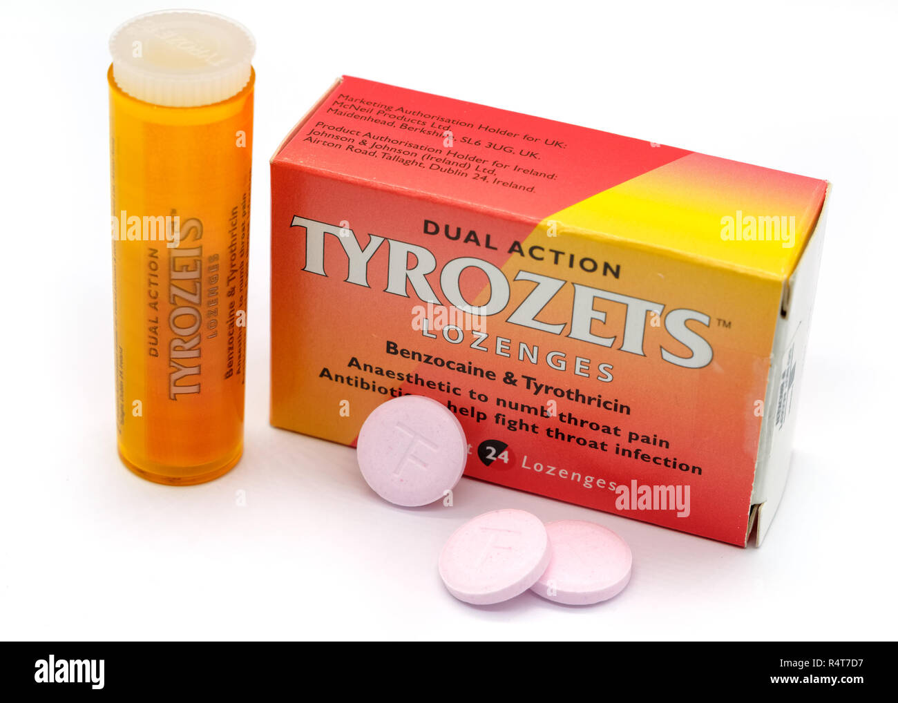 Largs, Scotland, UK - November 22, 2018: Tyrozets Branded Throat Lozenges in Recyclable Packaging in line with current UK guidelines and Isolated on W - Stock Image