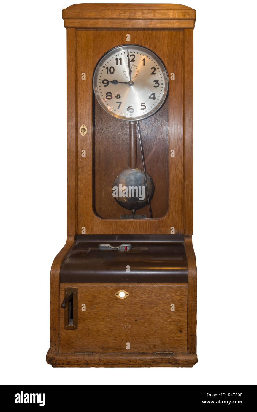 old time clock for time recording Stock Photo