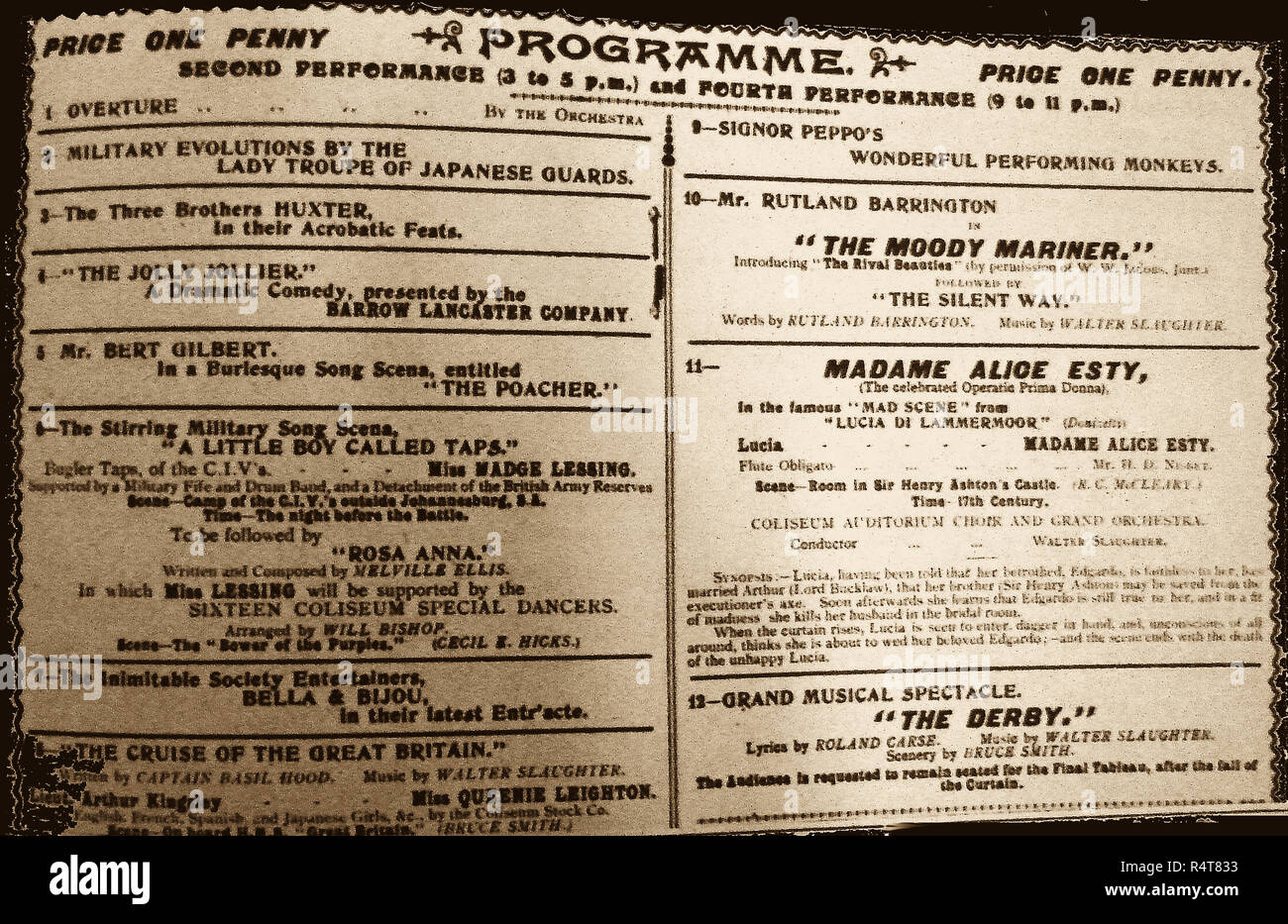 1902 - A Theatre programme from the London Coliseum (London UK) - Stock Image