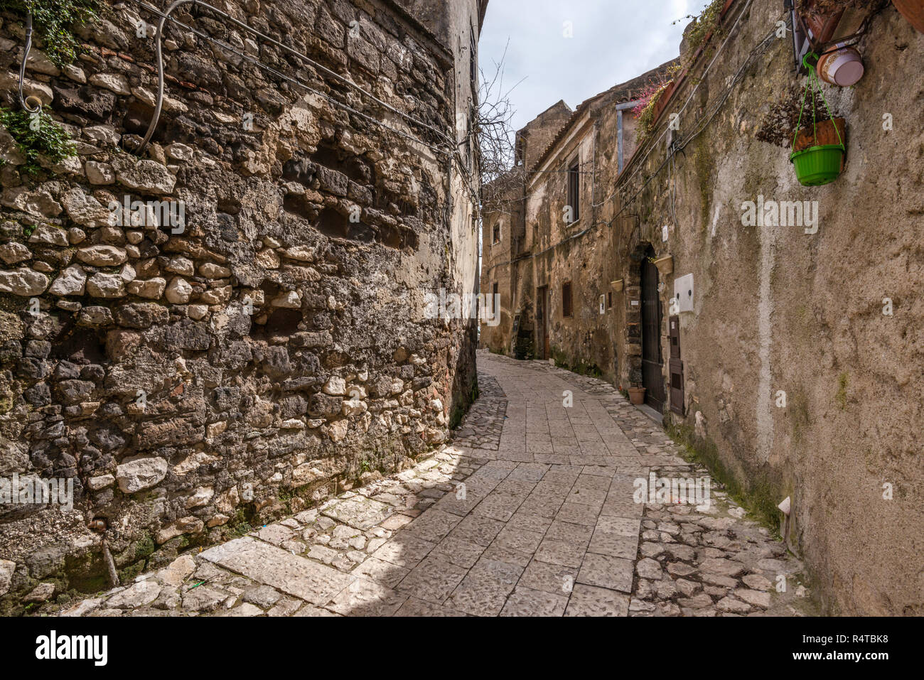 Via Torre in hill town of Casertavecchia, Campania, Italy - Stock Image