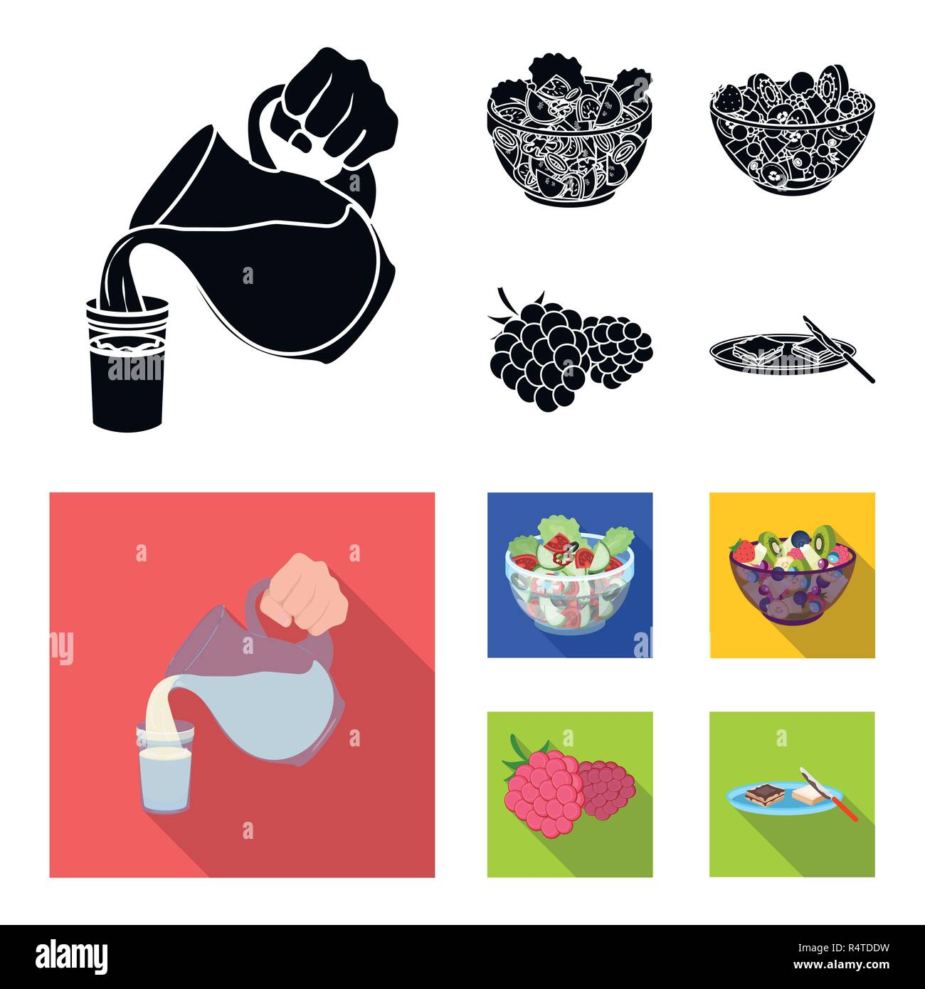 Fruit, vegetable salad and other types of food. Food set collection icons in black,flat style vector symbol stock illustration . - Stock Vector