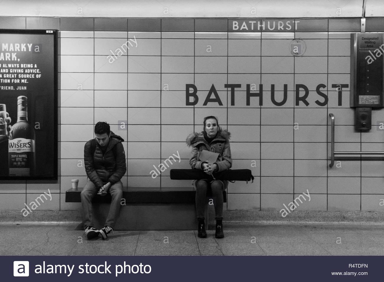 Toronto, Ontario, Canada-November 27, 2018: TTC Bathurst subway station. The Toronto Transit Commision public transportation system is the largest and Stock Photo