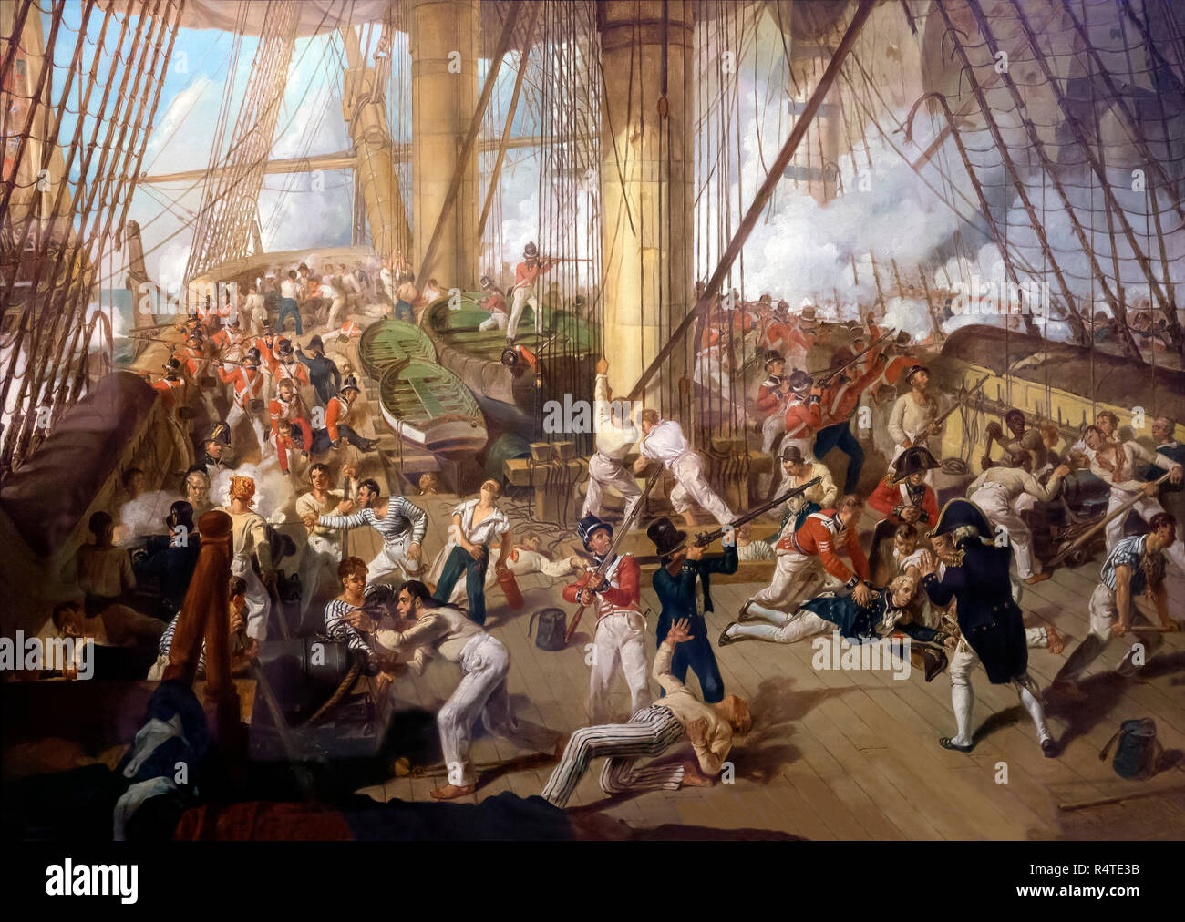 The Fall of Nelson at the Battle of Trafalgar, 21st October 1805, Denis Dighton, circa 1825, - Stock Image