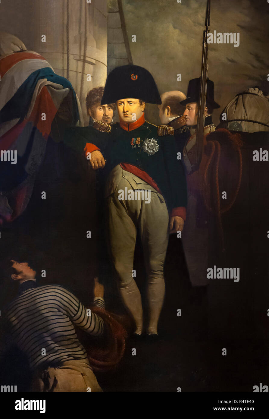 Napoleon Bonaparte on board the  Bellerophon in Plymouth Sound, Sir Charles Lock Eastlake, 1815, - Stock Image