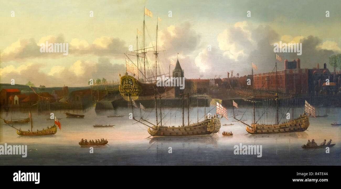 East India Company Ships at Deptford, unknown artist, circa 1660, - Stock Image