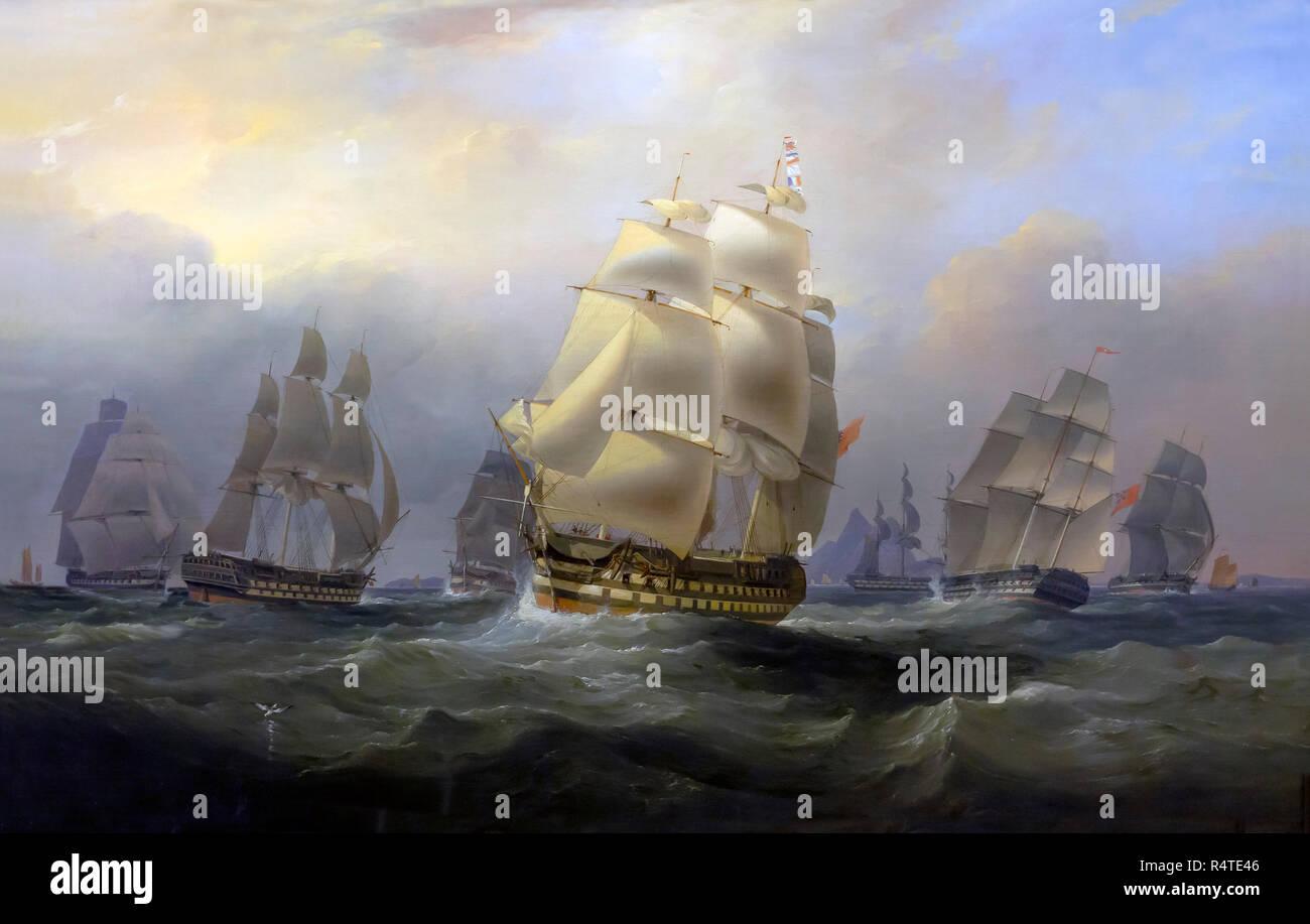 East Indiamen in the China Sea, William John Huggins and Edward Duncan, circa 1820, - Stock Image