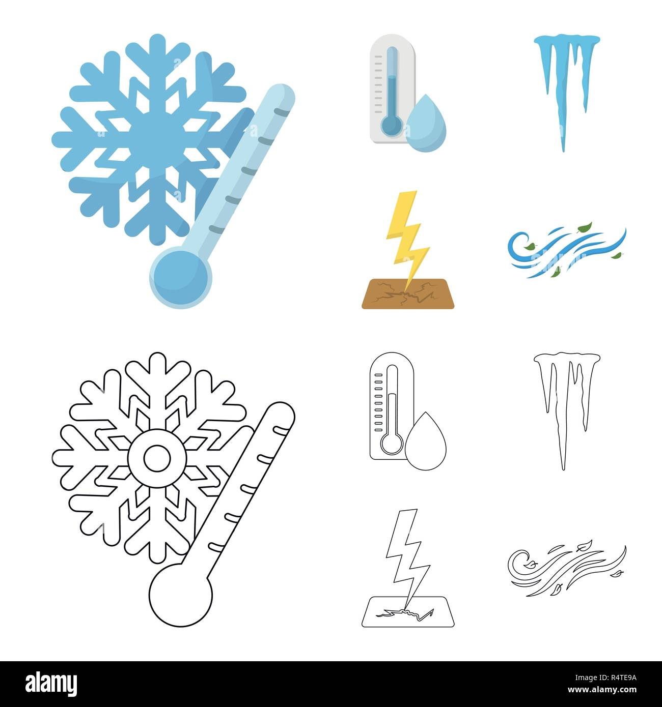 Humidity, icicles, thunderbolt, windy weather. Weather set collection icons in cartoon,outline style vector symbol stock illustration . - Stock Vector
