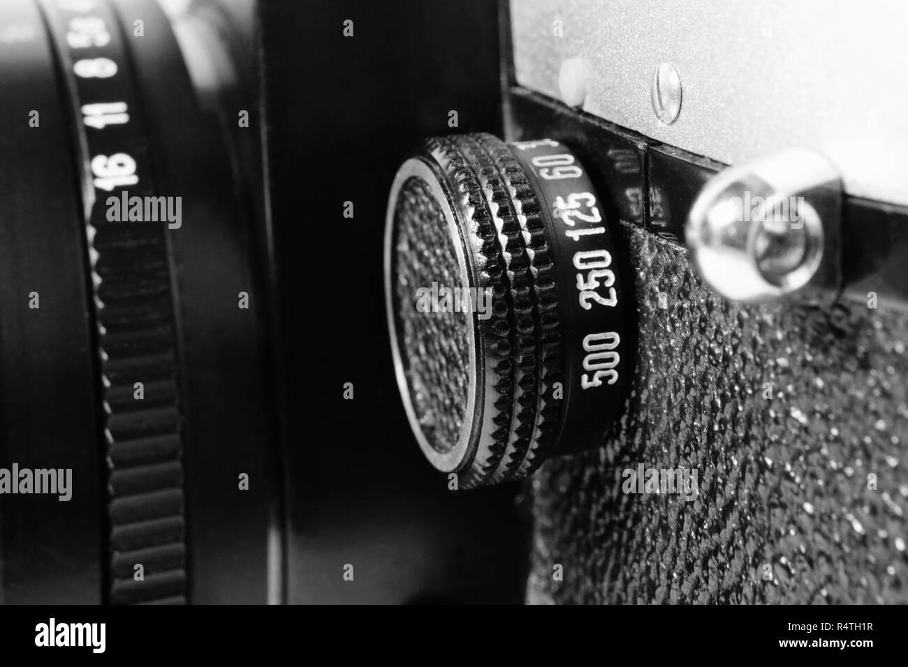 Retro camera shutter switch Shallow depth of field - Stock Image