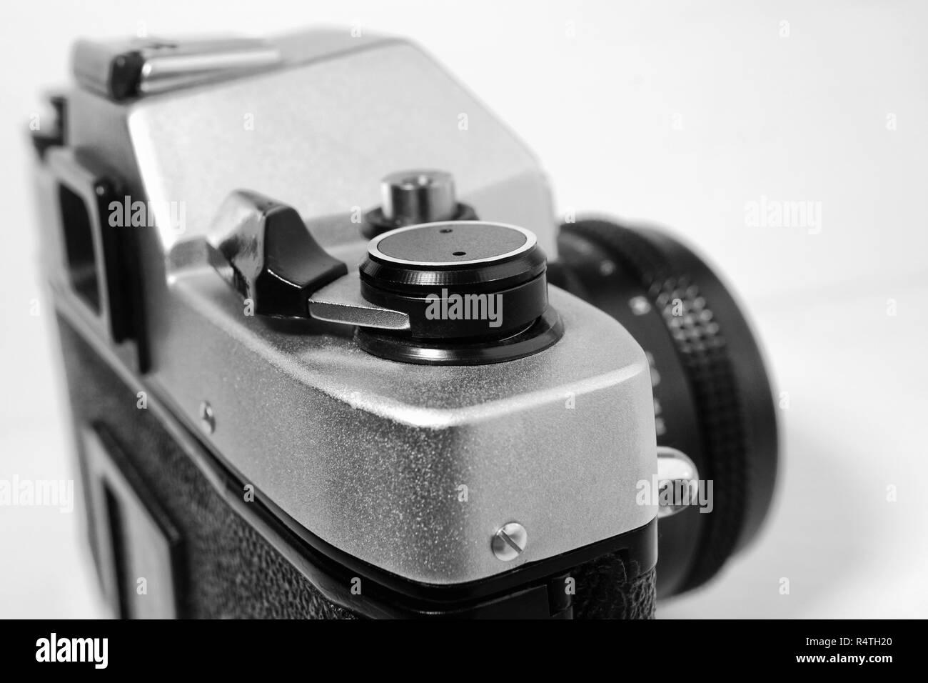 Vintage camera film rewinder lever Shallow depth of field - Stock Image