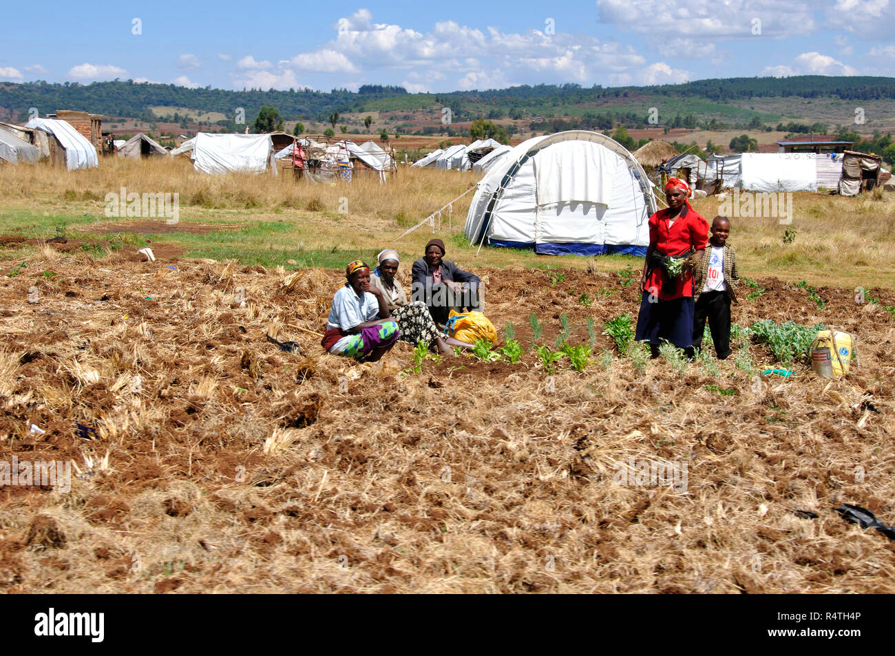 Kenya Red Cross Refugie Camp in Eldoret, Rift Valley, where more than 100'000 people are still living in weak conditions. Stock Photo