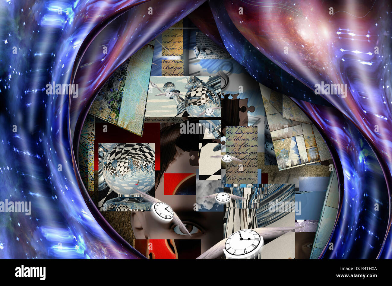 Symbolic composition. Chess pieces and warped space with vivid galaxies. Fragments of phrases from unknown poem. Winged clocks represents flow of time - Stock Image