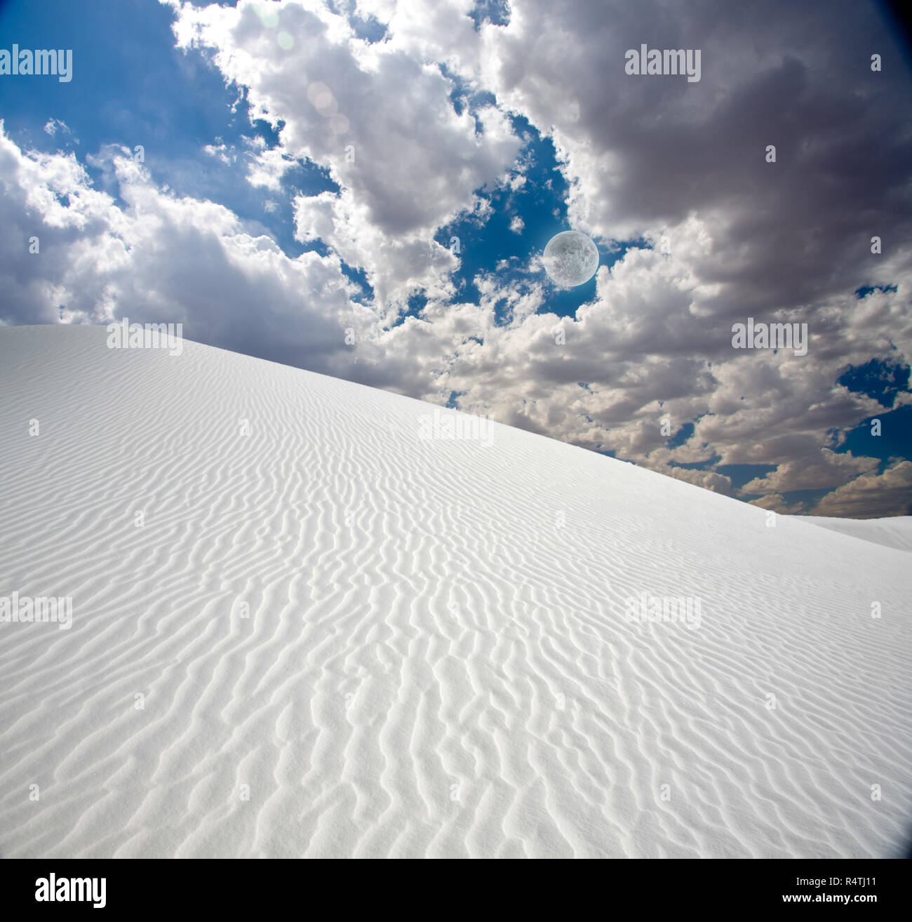 Full moon at White Sands New MexicoStock Photo