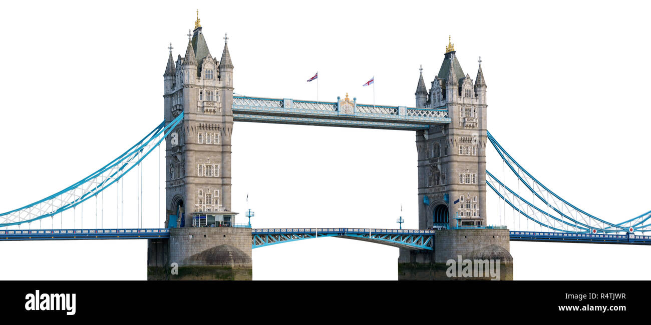 Tower Bridge in London isolated on white background with clipping path - Stock Image