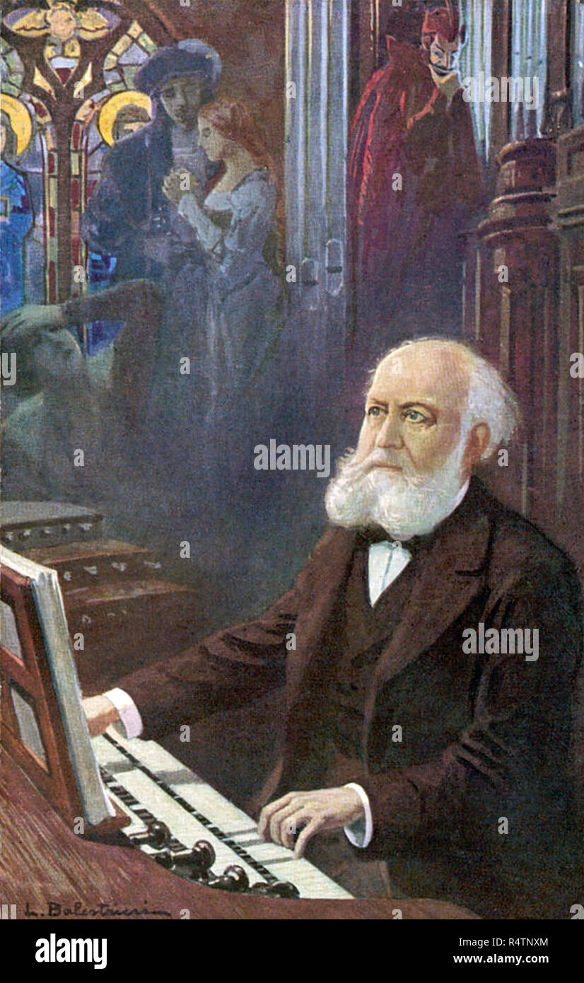 CHARLES GOUNOD (1818-1893) French composer. A French illustration shows him watched by his operatic creations Faust with Romeo and Juliet - Stock Image