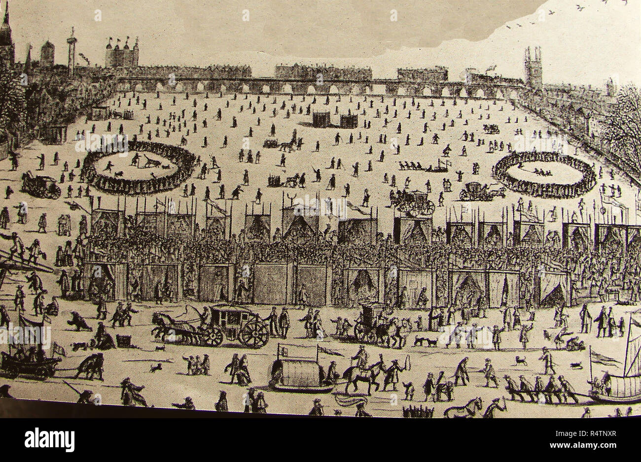 One of London's Great Frost Fairs held on the frozen Thames river between 1683-1684  (during  the worst frost recorded in England) - Stock Image