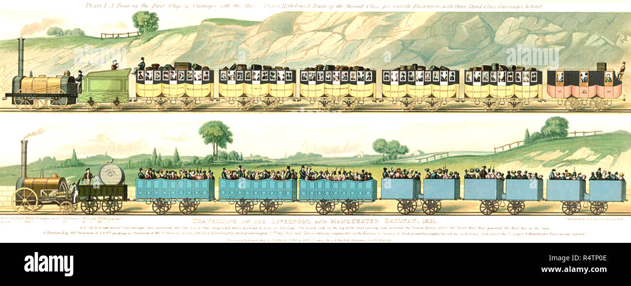 LIVERPOOL AND MANCHESTER RAILWAY 1830. The first passenger train in Europe - Stock Image