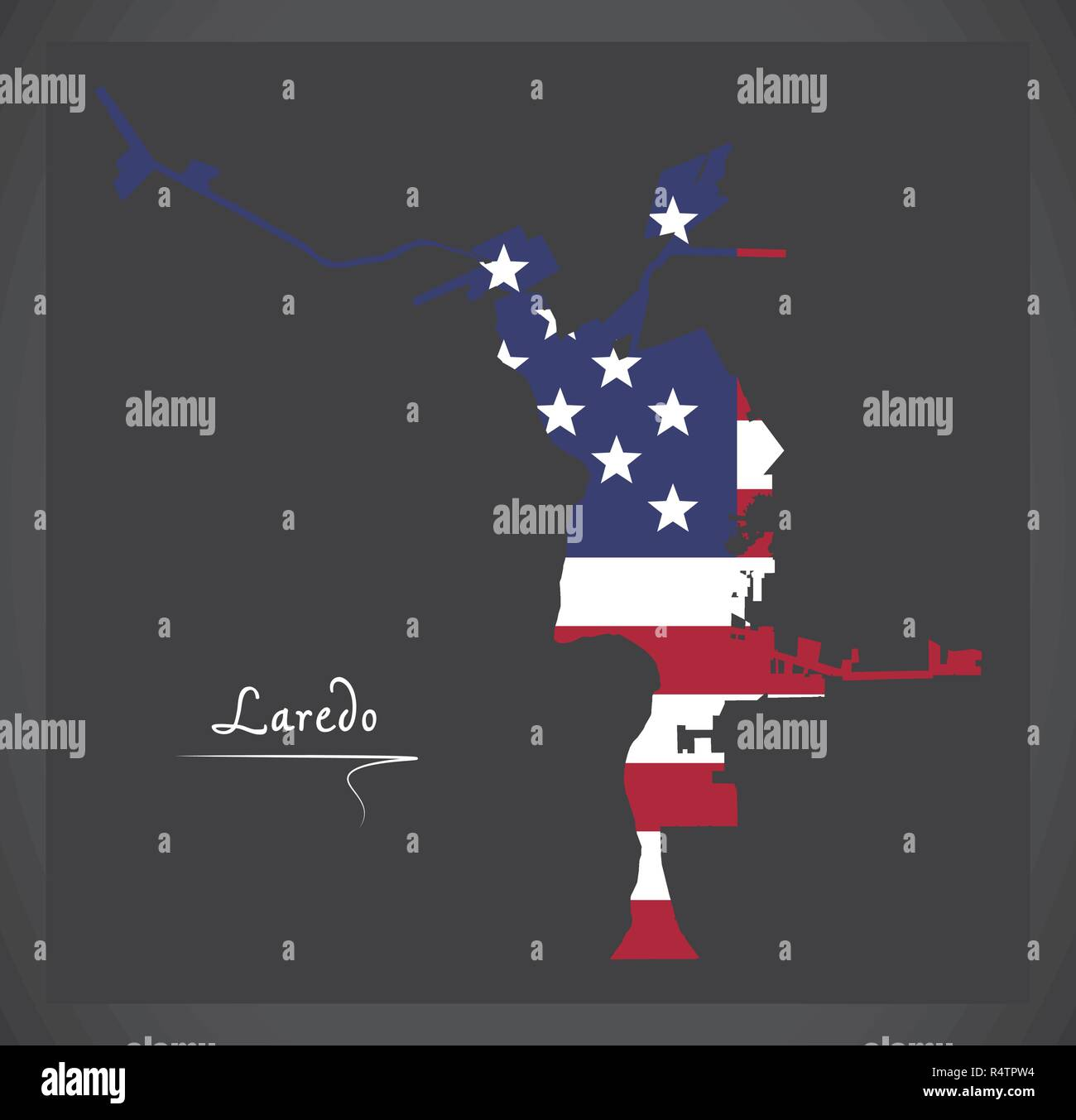 Map Of Texas Showing Laredo.Laredo Texas City Map With American National Flag Illustration Stock