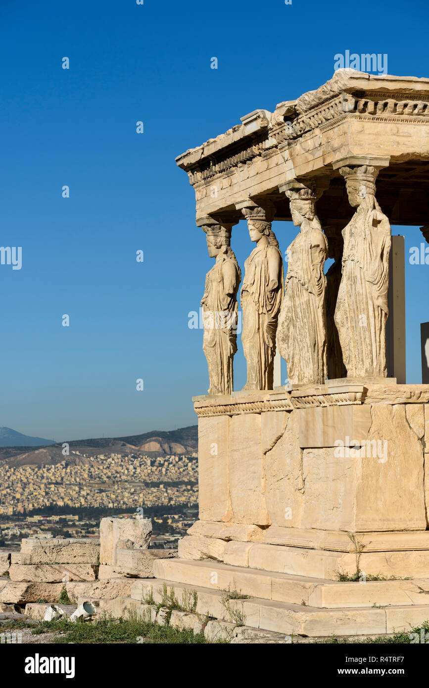 Athens. Greece. The Caryatid Porch of the Erechtheion (Erechtheum) ancient Greek temple on the north side of the Acropolis was dedicated to Athena and - Stock Image