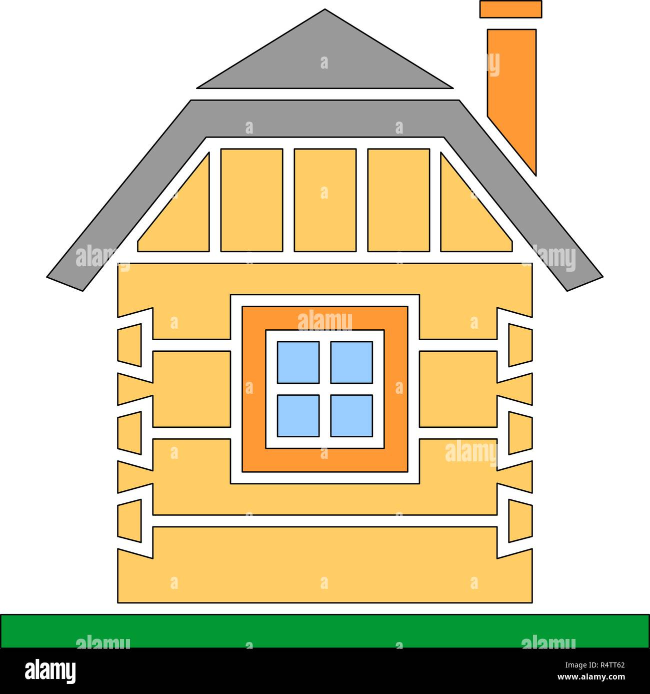 Village house of hewn logs . Angle connections with square logs. Vector illustration. Color silhouette. - Stock Vector