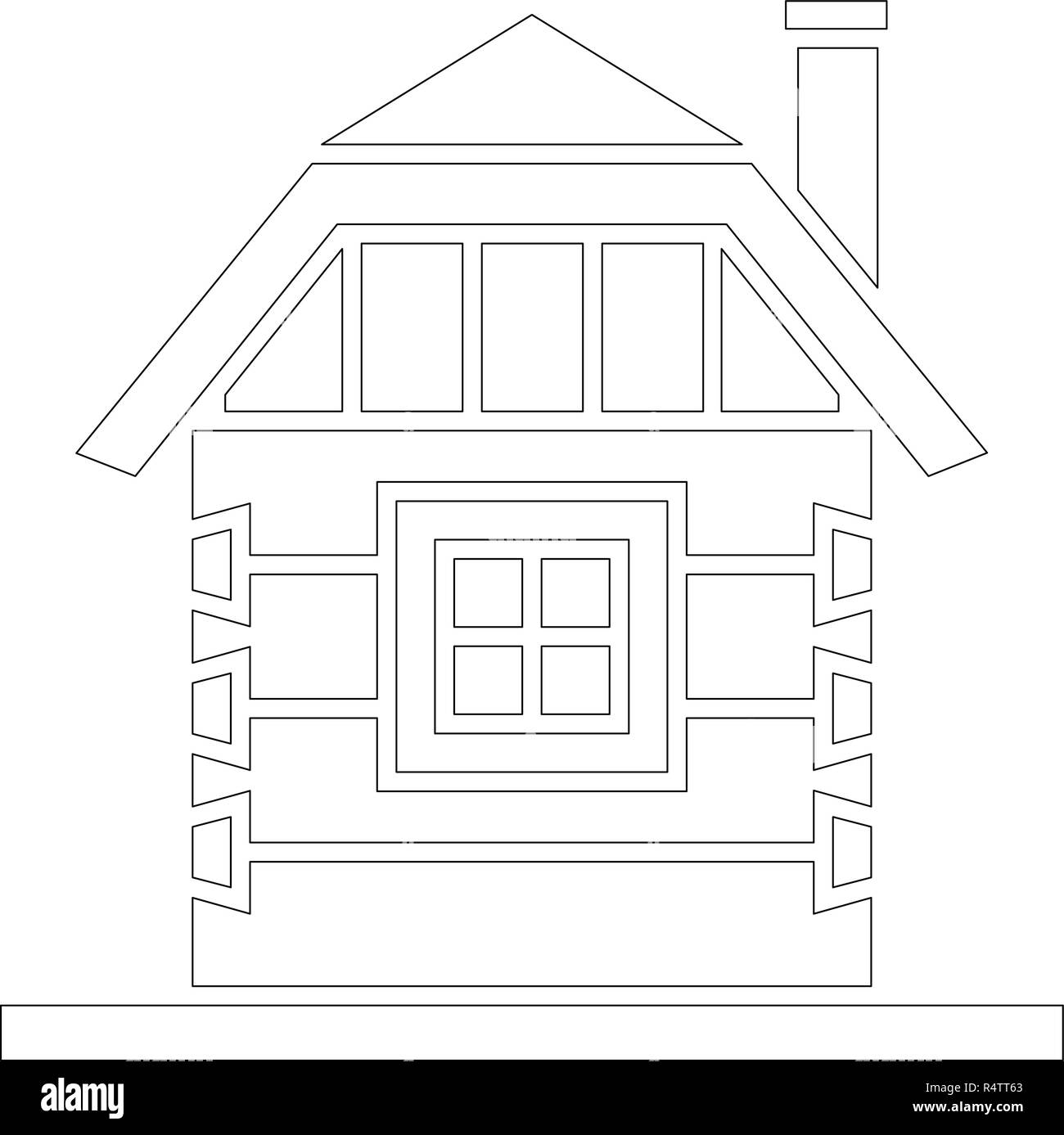 Village house of hewn logs . Angle connections with square logs. Vector illustration. White silhouette. - Stock Vector