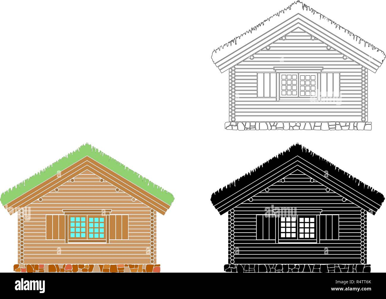 Norwegian traditional house of round logs . The roof is covered with greensward.  Vector illustration. Black,white and color silhouette. - Stock Image