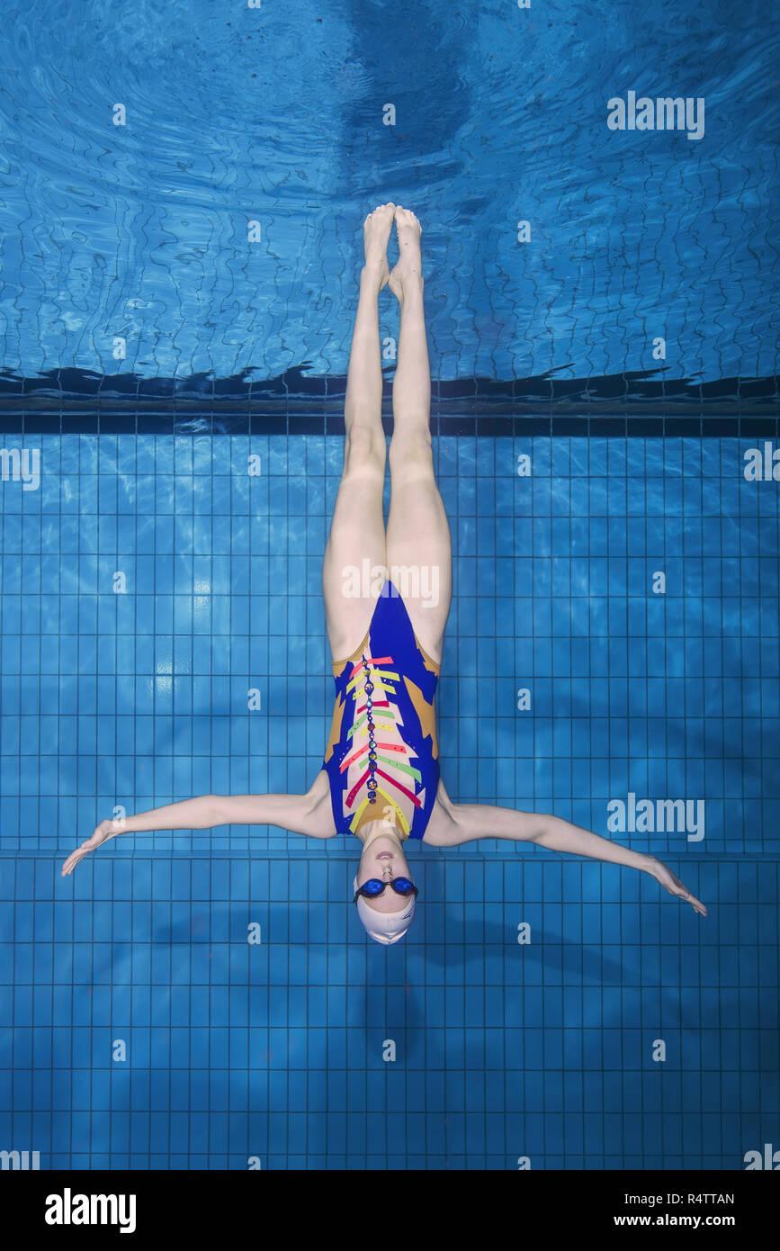 Underwater view of Synchronized Swimming, Ukraine - Stock Image
